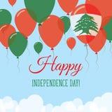 Kort för hälsning för Libanon självständighetsdagenlägenhet Stock Illustrationer
