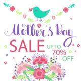 Kort för hälsning för lycklig dag för moder` s blom- stock illustrationer