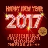 Kort 2017 för hälsning för lyckligt nytt år för neon för vektor lyxigt Royaltyfri Bild