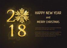 Kort för hälsning för lyckligt nytt år för vektor 2018 Fotografering för Bildbyråer