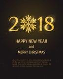 Kort för hälsning för lyckligt nytt år för vektor 2018 Royaltyfri Foto