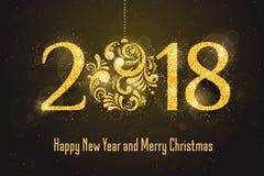 Kort för hälsning för lyckligt nytt år för vektor 2018 Arkivbild