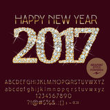 Kort 2017 för hälsning för lyckligt nytt år för vektor briljant Arkivfoton