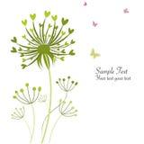 Kort för hälsning för maskrosor för vårfjäril blom- royaltyfri illustrationer