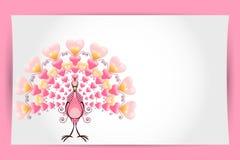 Kort för hälsning för påfågel för valentinförälskelsefågel Royaltyfri Bild