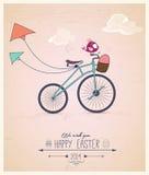 Kort för hälsning för påsk för Birdy ridningcykel Arkivfoto