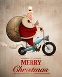 Kort för hälsning för Santa Claus motorcykelleverans Arkivbild