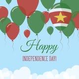 Kort för hälsning för Surinam självständighetsdagenlägenhet Vektor Illustrationer