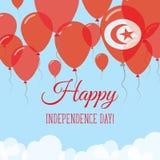 Kort för hälsning för Tunisien självständighetsdagenlägenhet Royaltyfri Illustrationer