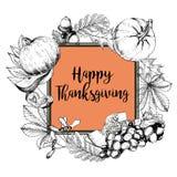 Kort för hälsning för vektorfyrkantgräns för tacksägelse Hand dragen tappning inristad illustration Arkivbild