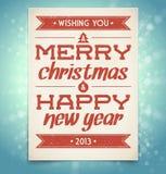 Hälsningskort för jul och för nytt år med typograp Arkivfoton