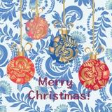 Kort för hälsning för glad jul för julbollar stock illustrationer