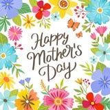 Kort för hälsning för gullig lycklig dag för moder` s blom- med bokstäver Royaltyfri Fotografi