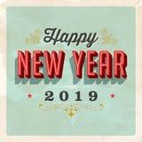 Kort för hälsning för helgdagsafton för ` s för nytt år för tappning 2019 stock illustrationer