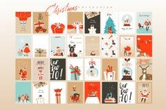 Kort för hälsning för illustrationer för tecknad film för tid för glad jul för utdragen vektor för hand abstrakta roliga stora ma vektor illustrationer