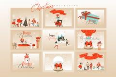 Kort för hälsning för illustrationer för tecknad film för tid för glad jul för utdragen vektor för hand abstrakta roliga stora ma royaltyfri illustrationer