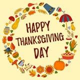 Kort för hälsning för klotter för tacksägelsedag gulligt stock illustrationer