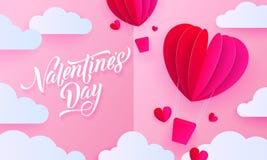 Kort för hälsning för konst för valentindagpapper av ballongen för varm luft för valentinhjärta med gåvaasken på vit molnmodellba Arkivbild