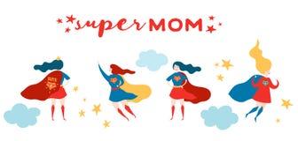 Kort för hälsning för moderdag med den toppna mamman Superheromodertecken i den röda uddedesignen för mors dagaffischen, baner stock illustrationer