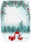 Kort för hälsning för tappningjul eller för nytt år vektor stock illustrationer