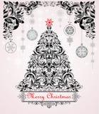 Kort för hälsning för tappningjul svartvitt med xmas-trädet och blom- garnering royaltyfri illustrationer