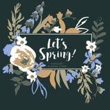 Kort för hälsning för tappningvektor blom- med vildblommor stock illustrationer