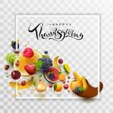 Kort för hälsning för text för kalligrafi för lycklig tacksägelsedag handskrivet Ymnighetshornskördram vektor illustrationer