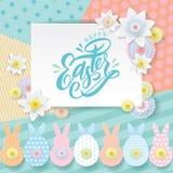 Kort för hälsning för vektorpapperssnitt Klippte vita blommor för våren, gulligt papper ut kaninen, paschakaniner på geometriska  royaltyfri illustrationer
