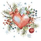 Kort för hälsning för vinterjulvattenfärg naturligt med röd hjärta vektor illustrationer