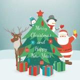 Kort för hälsningsjul och för nytt år fyll på underkanten kan jul som lyckliga glada nya egeer för textwishes för bild spanskt år vektor illustrationer