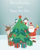 Kort för hälsningsjul och för nytt år fyll på underkanten kan jul som lyckliga glada nya egeer för textwishes för bild spanskt år stock illustrationer
