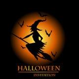 Kort för Halloween häxainbjudan Royaltyfri Bild