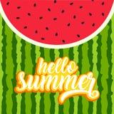 Kort för Hello sommarhälsning vektor illustrationer