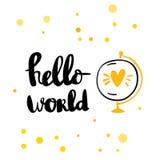 Kort för Hello världsbokstäver royaltyfri illustrationer