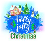 Kort för Holly Jolly rundahälsning stock illustrationer