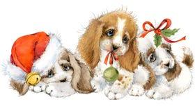Kort för hundårshälsning gullig valpvattenfärgillustration stock illustrationer