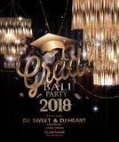 Kort 2018 för inbjudan för avläggande av examenparti med hängande lampor, konfettier och girlander för brusande royaltyfri illustrationer