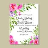 Kort för inbjudan för bröllop för vattenfärgblommarosor stock illustrationer