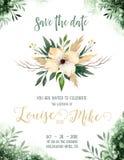 Kort för inbjudan för bröllop för vattenfärggrönskafärg med gröna och guld- beståndsdelar pappers- textur med blom- och sidor stock illustrationer