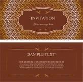 Kort för inbjudan för mallvektorbrunt Royaltyfri Bild