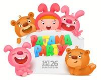 Kort för inbjudan för Pajamaparti med roliga tecken för tecknad film vektor illustrationer