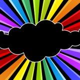 Kort för inbjudan för parti för regnbågemolnnatt stock illustrationer