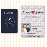 Kort för inbjudan för passdesignbröllop med bruden och brudgummen Arkivfoto