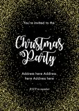 Kort för inbjudan för julparti, mall Svart med guld- konfettier och bokstäver royaltyfri illustrationer