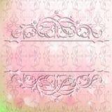 Kort för inbjudan och lyckönskan på en rosa bakgrund Royaltyfria Bilder