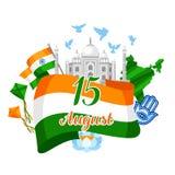 Kort för Indien självständighetsdagenhälsning Th för beröm 15 av Augusti vektor illustrationer