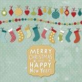 Kort för jul och för nytt år Royaltyfri Fotografi
