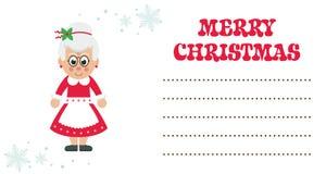 Kort för jul för tecknad filmmrs santa Royaltyfri Bild