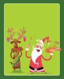 Kort för julbegreppshälsning med Santa Claus och renen ch Fotografering för Bildbyråer