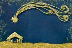 Kort för juljulkrubbahälsningar royaltyfri illustrationer